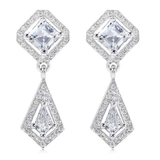 Annello by Kobelli 18k White Gold Asscher Cut Diamond Drop Earrings