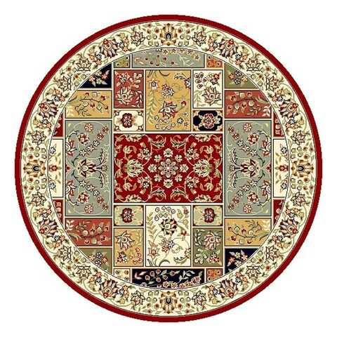 "Safavieh Lyndhurst Traditional Oriental Multicolor/ Ivory Rug - 5'3"" x 5'3"" Round"