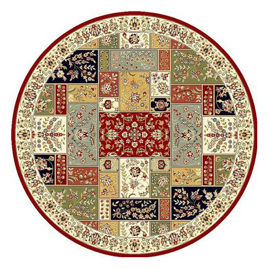 Lyndhurst Collection Traditional Multicolor/ Ivory Rug (8 Round)