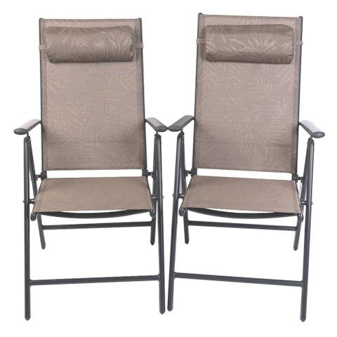 PatioPost Folding Chairs Adjustable Outdoor Recliner Patio 2 Persons Textilene Poolside Garden Lounge Chairs, Yellow Jacquard