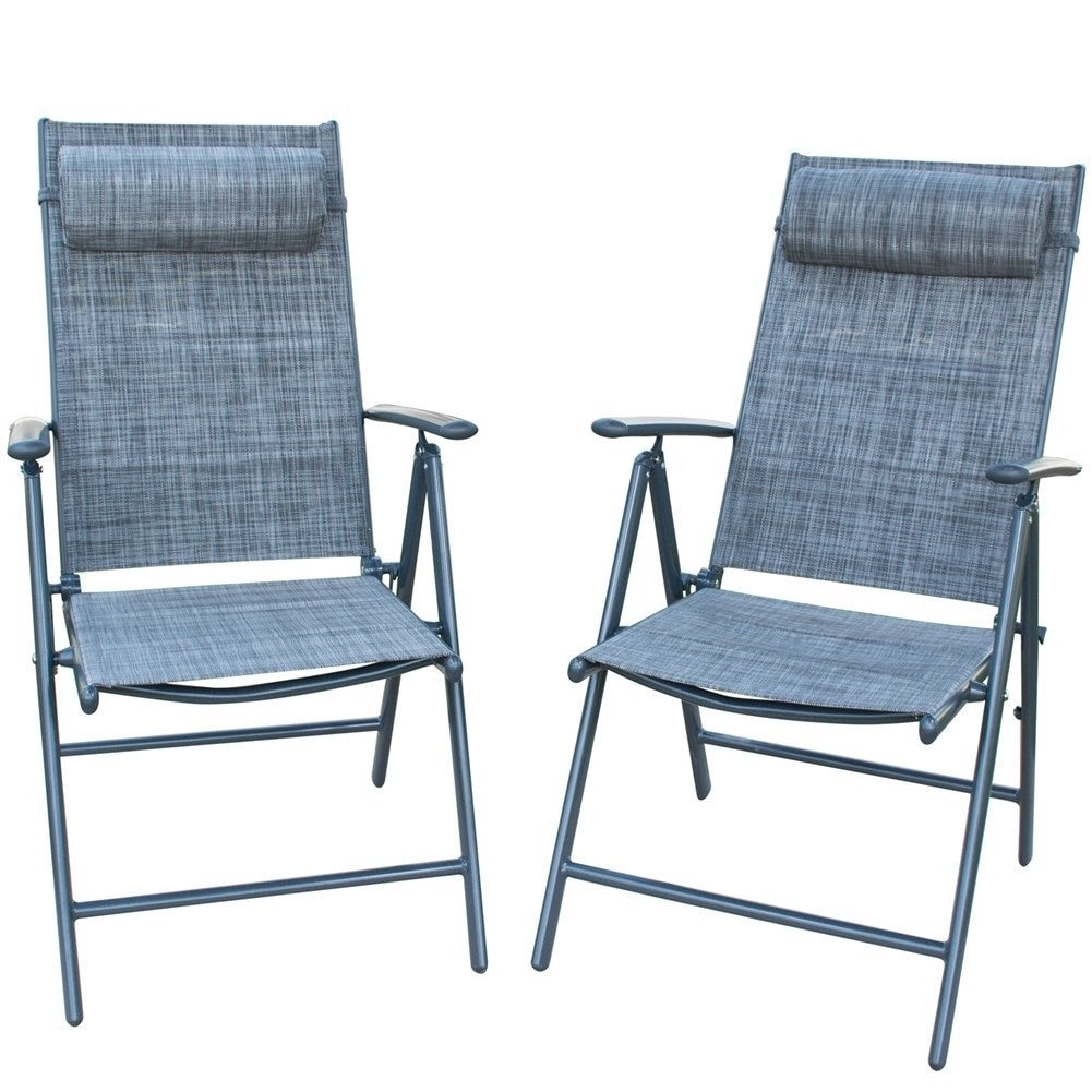 PatioPost Folding Chairs Adjustable Outdoor Recliner Patio 11 Persons  Textilene Poolside Garden Lounge Chairs, Grey