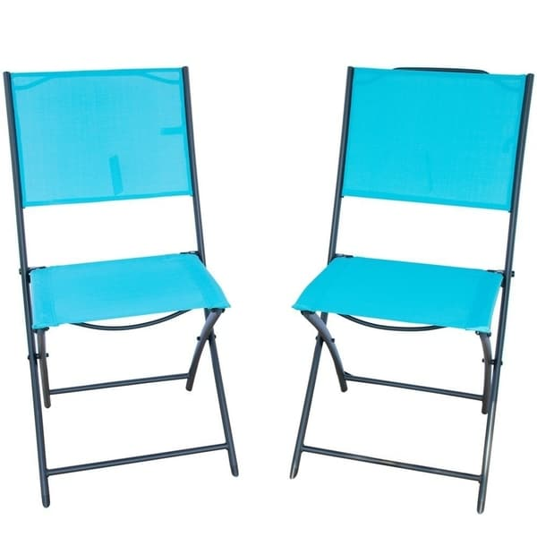 Attrayant PatioPost Sling Outdoor Chair 2 Pack Sling Textilene Mesh Fabric Iron  Folding Armless Chair,