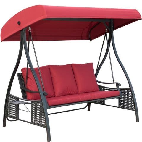 Outdoor Swing Chair Seats 3 Porch Patio Glider With Durable Steel Frame And Padded