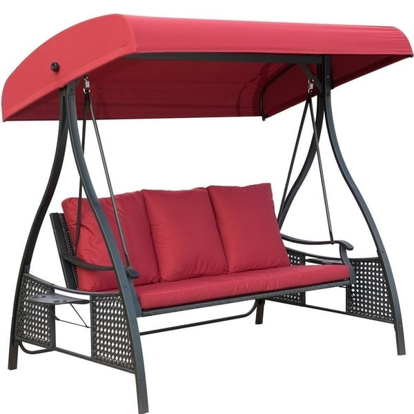 Perfect Outdoor Swing Chair, Seats 3 Porch Patio Swing Glider With Durable Steel  Frame And Padded
