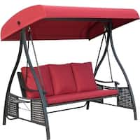 Outdoor Swing Chair, Seats 3 Porch Patio Swing Glider with Durable Steel Frame and Padded Cushion, Red