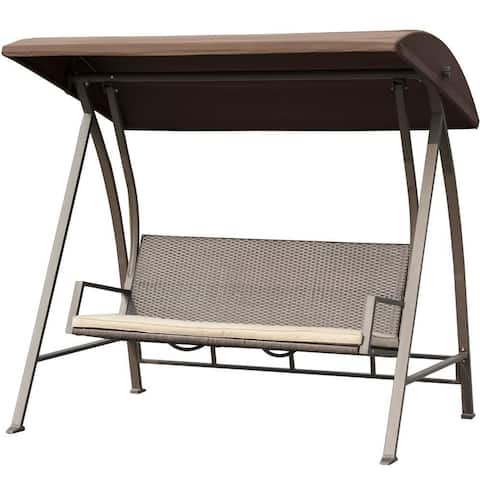 Burgeo Brown PE Wicker Glider Padded Canopy Swing Lounge Chair by Havenside Home