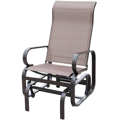 PatioPost Sling Glider Outdoor Patio Chair Textilene Mesh Fabric, Mocha