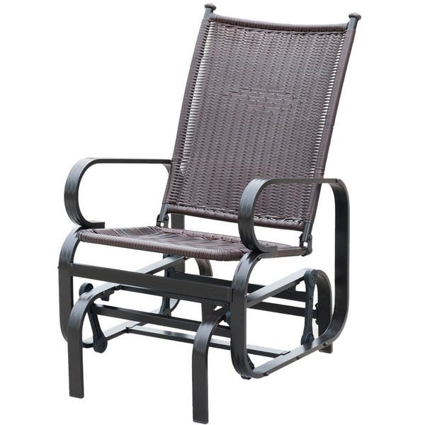 Marvelous Shop Patiopost Glider Chair Outdoor Pe Wicker Patio Rocking Gmtry Best Dining Table And Chair Ideas Images Gmtryco