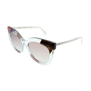 Fendi Square FF 0179 Jungle TKV E6 Women Azure Crystal Frame Brown Gradient Lens Sunglasses
