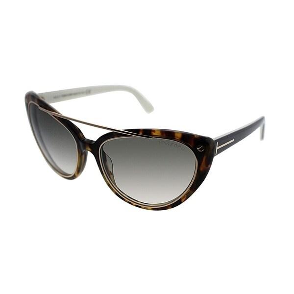 ec9a5a62322 Tom Ford Cat-Eye TF 384 Edita 56B Womens Havana Frame Brown Gradient Lens  Sunglasses
