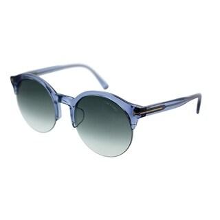 Tom Ford Round TF 9358 Asian Fit 84B Unisex Transparent Blue Frame Grey Gradient Lens Sunglasses