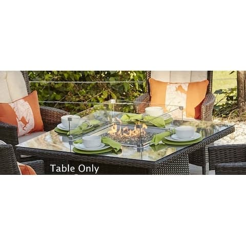 Ellington Outdoor 4-Seat Propane Square Gas Fire Pit Table- (TABLE ONLY)