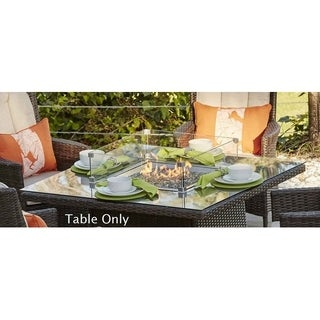 Ellington Outdoor Propane Square Gas Fire Pit Table with Glass Surround and Lava Rocks by Direct Wicker