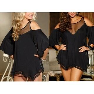 cnmodle Loose Off-shoulder Lace Sleepwear Halter Dress for Women