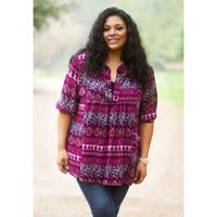 Sealed with a Kiss Women's Plus Size Printed Emmylou Tunic