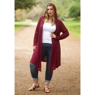Sealed with a Kiss Women's Plus Size Ribbed Hooded Duster