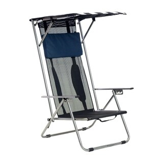 Quik Chair Portable Beach Recliner Shade Chair - Navy /White Fabric with Silver Frame
