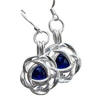 Handmade Recycled Vintage Cobalt 1960's Face Cream Jar Silver Blossom Earrings (United States)