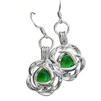 Handmade Recycled Vintage 1960'S Emerald Beer Bottle Silver Blossom Earrings (United States)