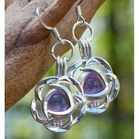 Handmade Recycled Antique Amethyst Glass Bottle Silver Blossom Earrings (United States)