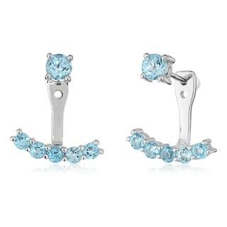 Pinctore Silver Swiss Blue topaz Back Ear Cuff Stud Earrings