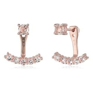 Gold-Plated Silver Morganite Back Ear Cuff Stud Earrings - Peach