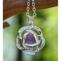 Handmade Recycled Antique Amethyst Glass Bottle Silver Blossom Necklace (United States)