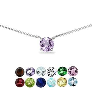 Glitzy Rocks 7mm Round-cut Gemstone Dainty 925 Silver Choker Necklace