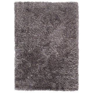 Central Oriental Luster Grey Charcoal Shag Rug - 7'6 x 9'6