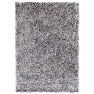Central Oriental Luster Silver Shag Area Rug (7'6 x 9'6)