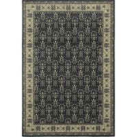 "Traditional Aztec Blue Bordered Area Rug - 7'10"" x 10'"