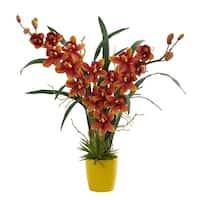Cymbidium Orchid Artificial Arrangement in Yellow Vase - h: 23 in. w: 22 in. d: 4.75 in