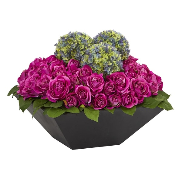 Roses and Ball Flowers Artificial Arrangement in Black Vase - h: 14 in. w: 16 in. d: 16 in