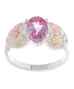 Black Hills Gold and Sterling Silver Pink Topaz Ring