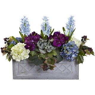 Nearly Natural 19.5-inch Hyacinth and Hydrangea Artificial Arrangement in Stone Planter