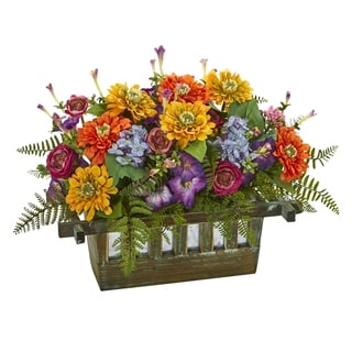 Mixed Floral Artificial Arrangement in Rectangular Wood Planter - h: 14 in. w: 20 in. d: 13 in