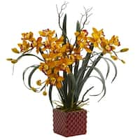 "29"" Cymbidium Orchid Artificial Arrangement in Red Vase - h: 29 in. w: 26 in. d: 15 in"