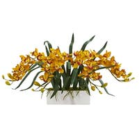 Cymbidium Artificial Arrangement in White Vase - h: 15 in. w: 35 in. d: 13 in