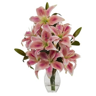 Rubrum Lily Artificial Arrangement in Decorative Vase - h: 18 in. w: 12 in. d: 12 in