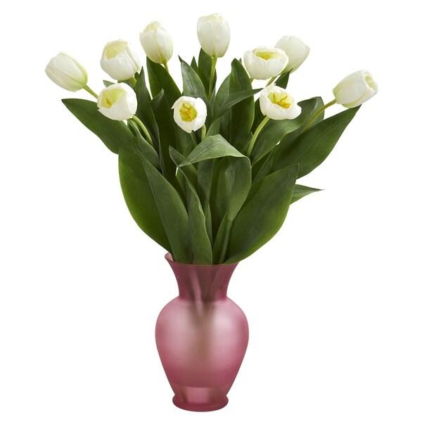 Tulips Artificial Arrangement In Vase H 22 In W 16 In D 9 In
