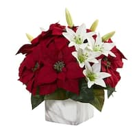 Poinsettia & Lily Artificial Arrangement in Marble Vase - h: 13 in. w: 13 in. d: 13 in