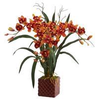 "29"" Cymbidium Orchid Artificial Arrangement in Red Vase - h: 29 in. w: 26 in. d: 15 in"