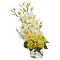 Rose & Dendrobium Orchid Artificial Arrangement - h: 20 in. w: 9 in. d: 7 in