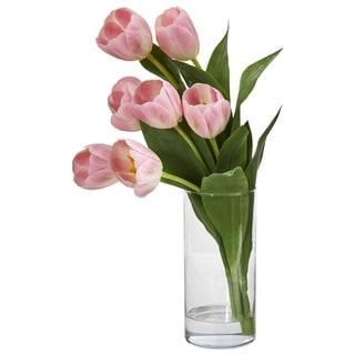 Tulip Artificial Arrangement in Cylinder Vase - h: 16 in. w: 7 in. d: 3 in