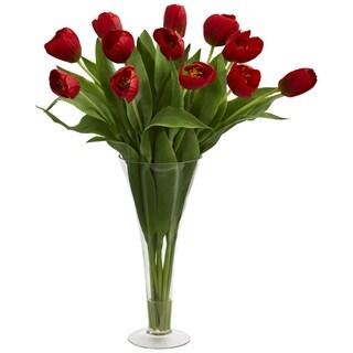 Tulips Artificial Arrangement in Flared Vase - h: 23 in. w: 5 in. d: 5 in
