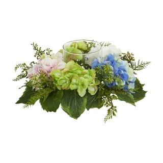 Hydrangea Artificial Candelabrum - h: 5.5 in. w: 14 in. d: 14 in