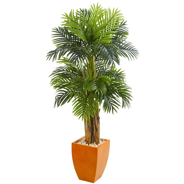 Triple Areca Palm Artificial Tree in Orange Planter - h: 5.5 ft. w: 34 in. d: 30 in