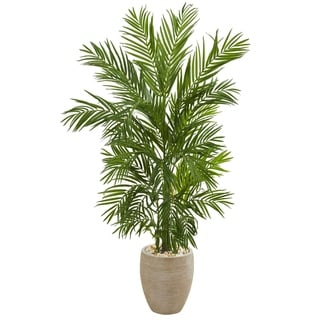 5' Areca Palm Artificial Tree in Sand Colored Planter - h: 5 ft. w: 31 in. d: 25 in