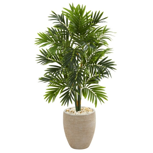 4' Areca Artificial Palm Tree in Sand Colored Planter - h: 4 ft. w: 26 in. d: 26 in