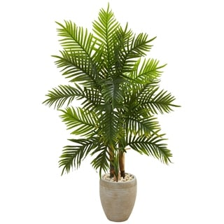 5' Areca Palm Artificial Tree in Sand Colored Planter (Real Touch) - h: 5 ft. w: 32 in. d: 21 in